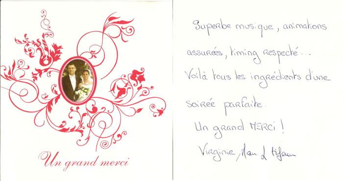 carte de remerciement de virginie et manu - Discours Remerciement Mariage