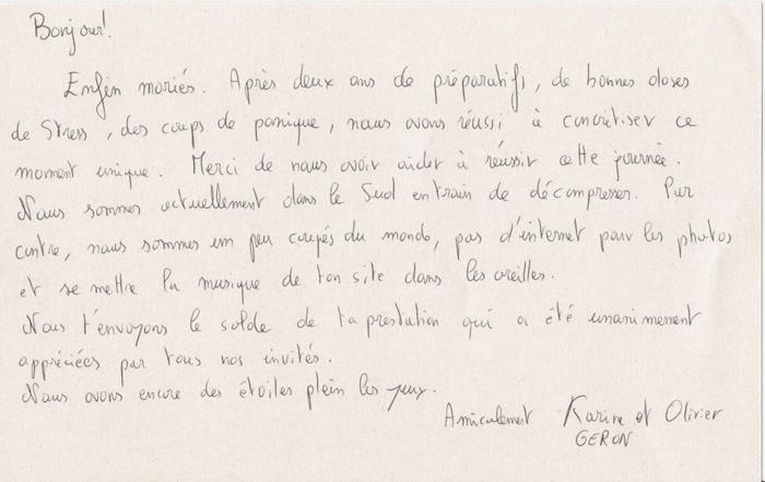 carte de remerciement de karine et olivier - Discours De Remerciement Mariage