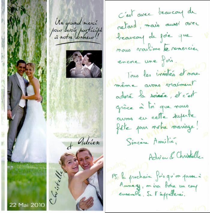 carte de remerciement de christelle et adrien - Mot De Remerciement Mariage